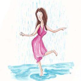 Illustratie Dansen in de regen
