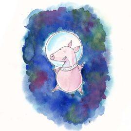 Illustratie Pigs in space