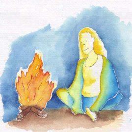 Illustratie Kampvuur