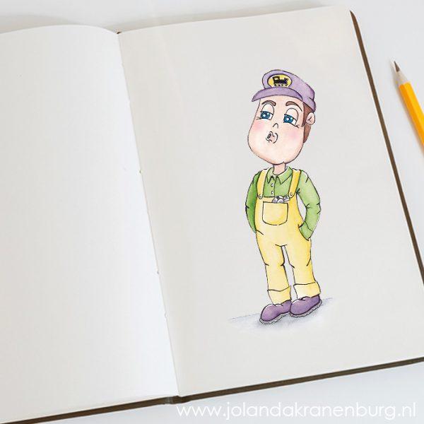 illustratie aquarel mascotte basischool