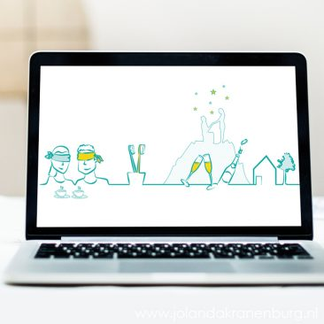 digitale illustratie bruidspaar, persoonlijke trouwkaart, illustrator Assen