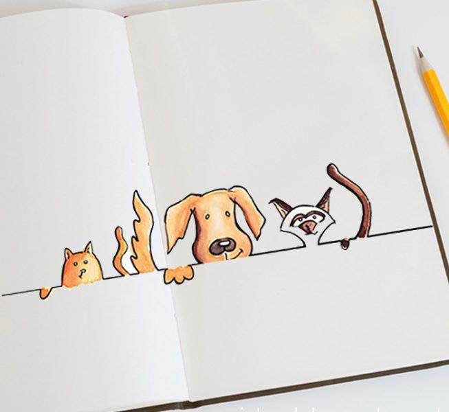 Kaart samen wonen, illustratie huisdieren, Assen