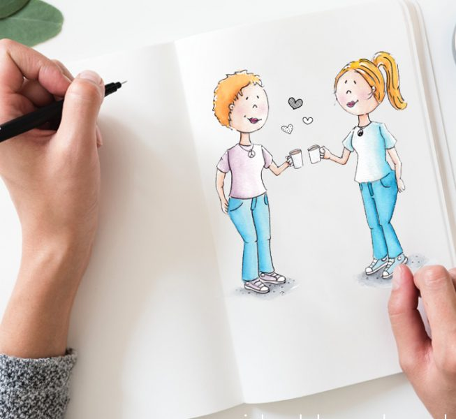illustrator Assen, illustratie, aquarel, cartoon, yoga, mindfulness